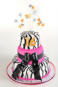 Sweet 16 white pink and black tiered Birthday Cake with zebra stripes and gold and silver stars