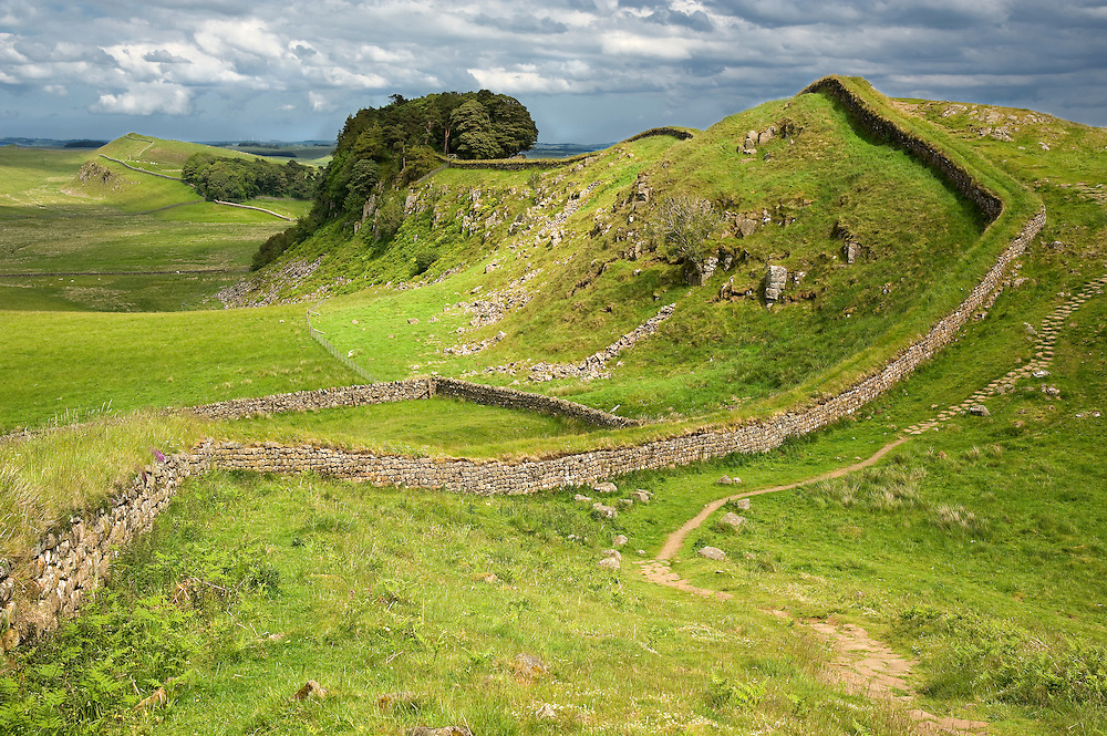 The Romans took advantage of the volcanic Whin Sill, a natural line of defense, by constructing portions of Hardrian's Wall on its crest.  This section is just west of Housesteads Fort, the best preserved Roman fort in Britain.