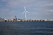 wind energy turbine in the harbor at Yokohama Japan