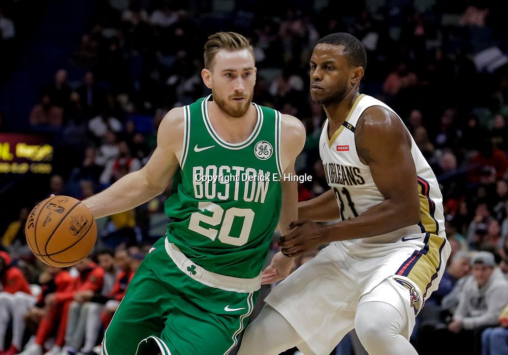 Nov 26, 2018; New Orleans, LA, USA; Boston Celtics forward Gordon Hayward (20) drives past New Orleans Pelicans forward Darius Miller (21) during the second half at the Smoothie King Center. Mandatory Credit: Derick E. Hingle-USA TODAY Sports