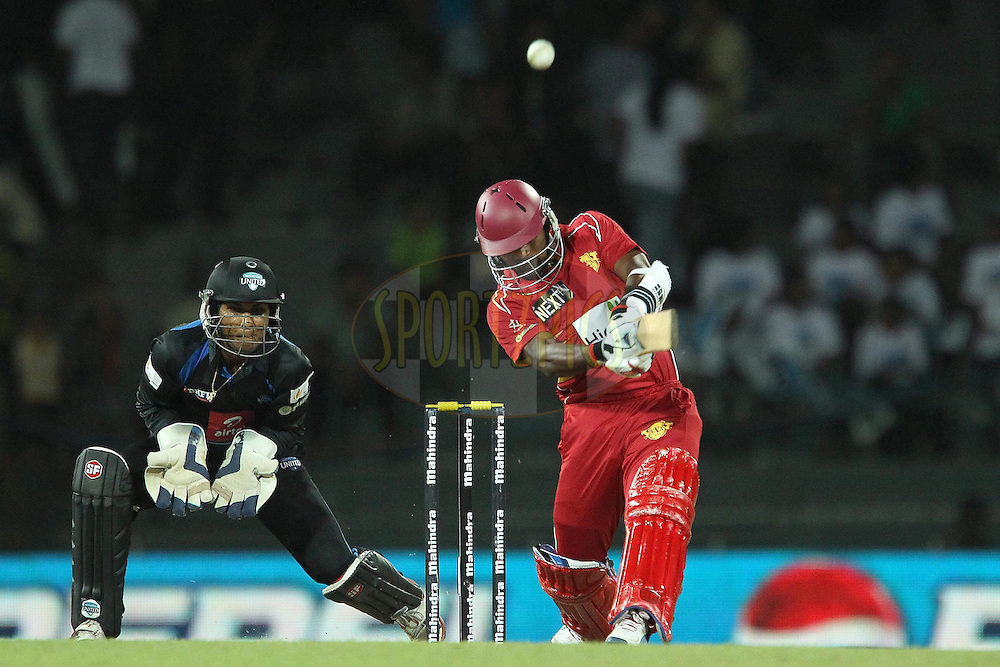 Sekuge Prasanna launches a six from his first delivery during the first Semi Final Match of the Sri Lankan Premier League between Uva Next and Wayamba United held at the Premadasa Stadium in Colombo, Sri Lanka on the 28th August 2012. .Photo by Ron Gaunt/SPORTZPICS/SLPL