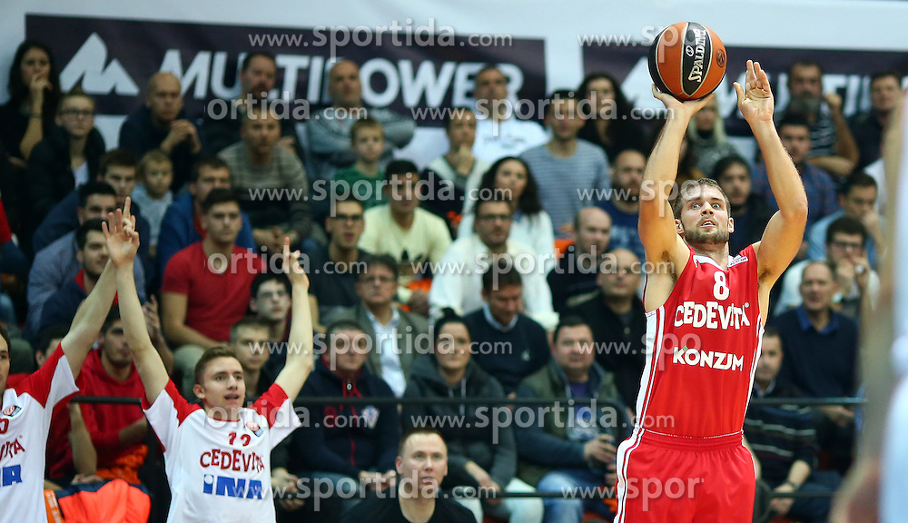 03.12.2015, KC Drazen Petrovic, Zagreb, CRO, FIBA, EL, KK Cedevita vs Anadolu Efes Istanbul, Gruppe B, 8. Runde, im Bild Fran Pilepic // during the group B, 8th round match of the Turkish Airlines Basketball Euroleague between KK Cedevita and Anadolu Efes Istanbul at the KC Drazen Petrovic in Zagreb, Croatia on 2015/12/03. EXPA Pictures &copy; 2015, PhotoCredit: EXPA/ Pixsell/ Slavko Midzor<br /> <br /> *****ATTENTION - for AUT, SLO, SUI, SWE, ITA, FRA only*****