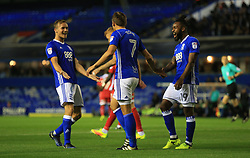 Birmingham City's Robert Tesche (centre) celebrates scoring his side's fourth goal of the game against Crawley Town
