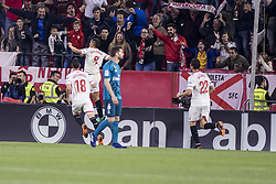 May 9, 2018 - Seville, Spain - WISSAN BEN YEDDER (C) of Sevilla celebrates after scoring 1-0 during the La Liga soccer match between Sevilla FC and Real Madrid at Sanchez Pizjuan Stadium (Credit Image: © Daniel Gonzalez Acuna via ZUMA Wire)