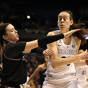 Breanna Stewart, (right), UConn, rebounds while challenged by Makenzie Cann, Cincinnati, during the UConn Vs Cincinnati Quarterfinal Basketball game at the American Women's College Basketball Championships 2015 at Mohegan Sun Arena, Uncasville, Connecticut, USA. 7th March 2015. Photo Tim Clayton