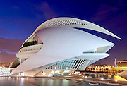 El Palau de les Arts Reina Sofía, an opera house and performing art center, that is part of the City of Arts and Sciences in Valencia, Spain at dusk