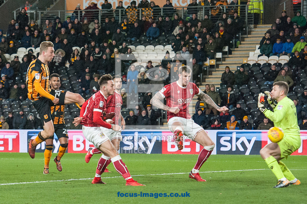 Jarrod Bowen of Hull City scores his sides second goal during the Sky Bet Championship match at the KCOM Stadium, Hull<br /> Picture by Matt Wilkinson/Focus Images Ltd 07814 960751<br /> 25/11/2017
