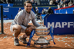 April 29, 2018 - Barcelona, Catalonia, Spain - RAFAEL NADAL (ESP) poses with the trophy for his 11th title at the 'Barcelona Open Banc Sabadell' after winning the final against Stefanos Tsitsipas (GRE). Nadal won 6:2, 6:1 (Credit Image: © Matthias Oesterle via ZUMA Wire)