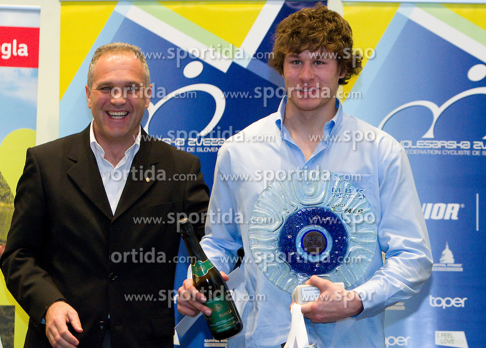 Damjan Pintar of Unior d.d. and best MTB rider Nejc Rutar during the Slovenia's Cyclist of the year award ceremony by Slovenian Cycling Federation KZS, on December 11, 2010 in Hotel Mons, Ljubljana, Slovenia. (Photo By Vid Ponikvar / Sportida.com)