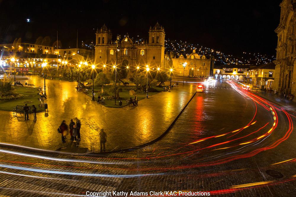 Cusco at night in the Plaza de Armas, Peru.