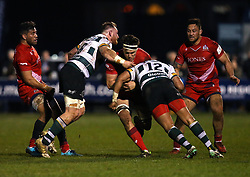 Sam Jeffries of Bristol Rugby is tackled - Mandatory by-line: Robbie Stephenson/JMP - 06/04/2018 - RUGBY - The Bay - Nottingham, England - Nottingham Rugby v Bristol Rugby - Greene King IPA Championship