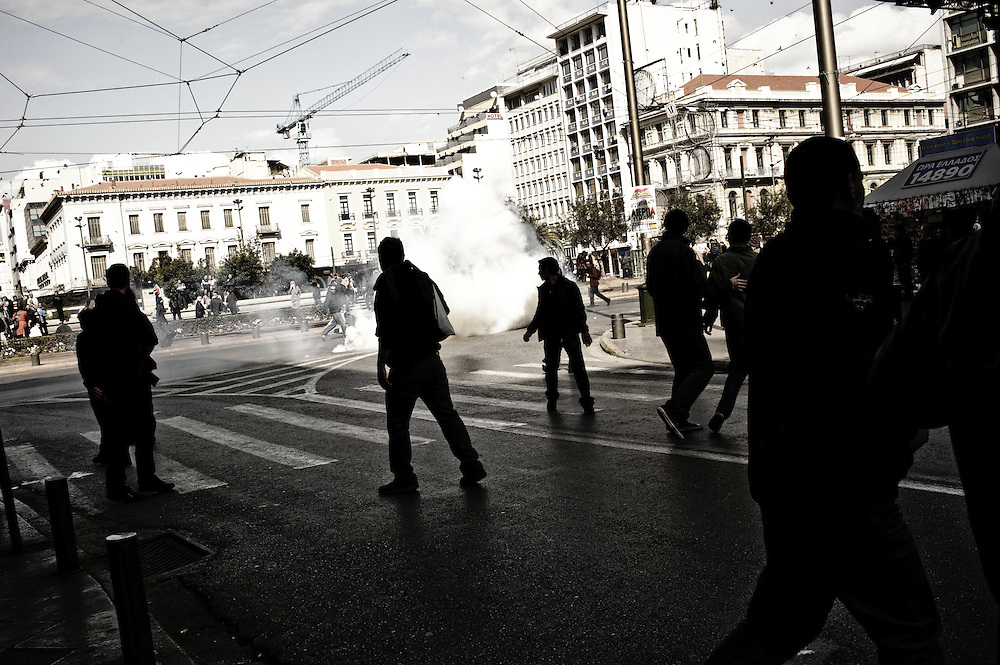 Athens, March 5th 2010. Riots between demonstrators and riot police. General strike and massive demonstration in Athens, Greece organized by the Unions of GSEE, ADEDY and various political organizations. Thousands of people protesting against the hard economic measurements that the government applies to people.