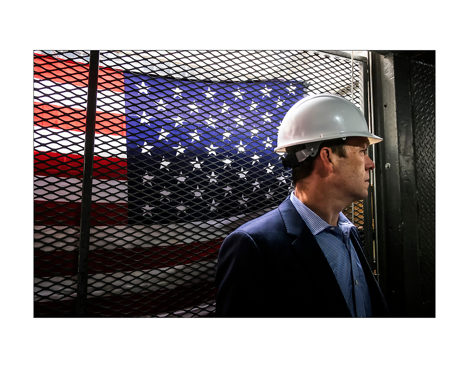National Real Estate Managing Director  and developer Daniel Killinger rides the construction elevator at the Stephen Girard Building.. ED HILLE / Staff Photographer