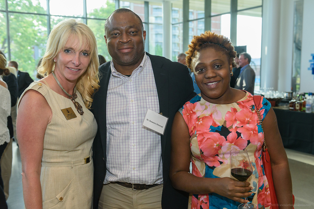 District 7 Councilwoman Angela Leet with Dr. Ossawaru Omoruyi and Dr. Adetokunbo Omoruyi  at the 10-year anniversary celebration of Republic Bank's Private Banking and Business Banking divisions Wednesday, May 17, 2017, at the Speed Art Museum in Louisville, Ky. (Photo by Brian Bohannon)