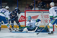 PENTICTON, CANADA - SEPTEMBER 8: Kameron Keilly #91 of Winnipeg Jets tries to put the puck in the net on a rebound save from Thatcher Demko #35 of Vancouver Canucks on September 8, 2017 at the South Okanagan Event Centre in Penticton, British Columbia, Canada.  (Photo by Marissa Baecker/Shoot the Breeze)  *** Local Caption ***