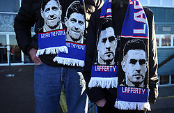 Ranger fans with scarfs outside the ground before the Ladbrokes Scottish Premiership match at McDiarmid Park, Perth.