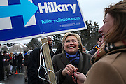 Primary day in New Hampshire, Hillary Clinton greets voters and supporters outside of the Gilbert Hood Middle School in Derry, Tuesday, Feb. 9, 2016.  CREDIT: Cheryl Senter for The New York Times