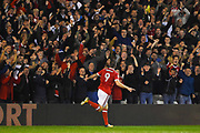 Nottingham Forest forward Daryl Murphy (9) celebrates after scoring a goal to make it 1-1 during the EFL Sky Bet Championship match between Nottingham Forest and Fulham at the City Ground, Nottingham, England on 26 September 2017. Photo by Jon Hobley.