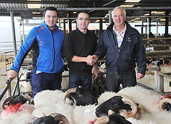 Mayo Blackface Sheep breeders group sale Blackface Hoggets Mayo Connemara type 1st place Kieran Gibbons Tourmakeady with Stephen Lally Mayo Blackface Group and Jimmy O'Dwyer (Show Judge). Pic Conor McKeown