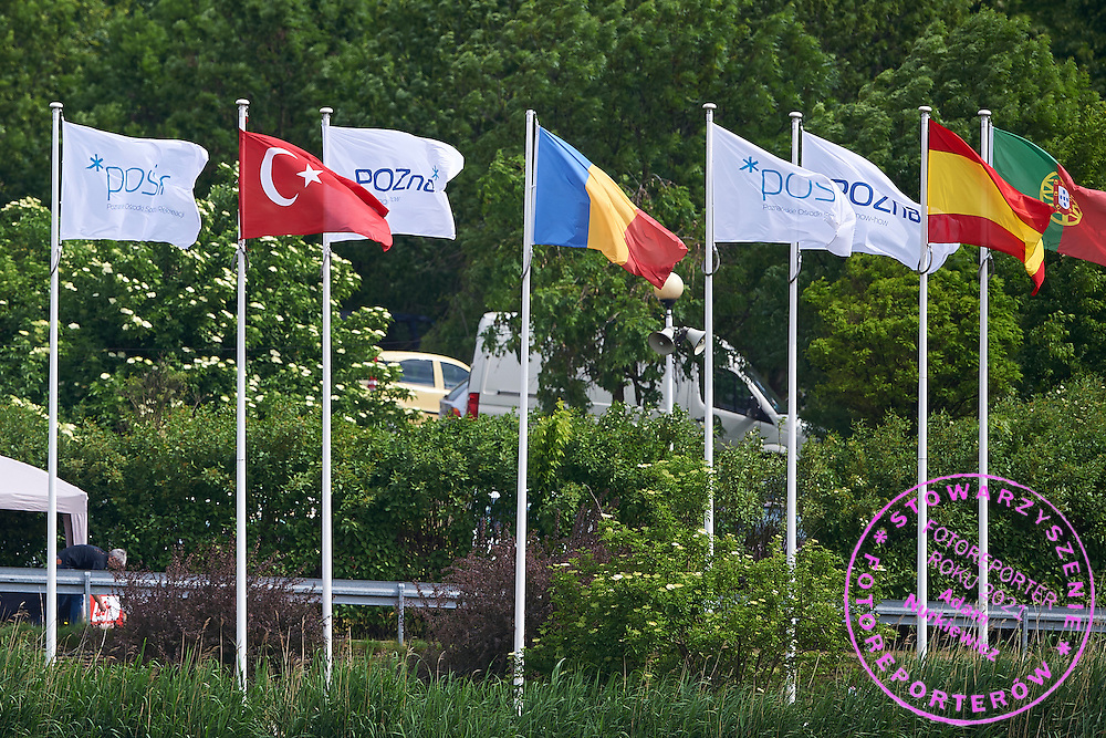 Official flags near boat houses during second day the 2015 European Rowing Championships on Malta Lake on May 30, 2015 in Poznan, Poland<br /> Poland, Poznan, May 30, 2015<br /> <br /> Picture also available in RAW (NEF) or TIFF format on special request.<br /> <br /> For editorial use only. Any commercial or promotional use requires permission.<br /> <br /> Mandatory credit:<br /> Photo by &copy; Adam Nurkiewicz / Mediasport