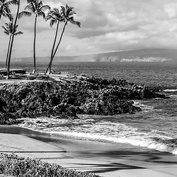 Maui Hawaii Ulua Beach black and white panorama photo in Wailea Makena with Kaho'olawe Island Reserve and the Pacific Ocean. Copyright ⓒ 2019 Paul Velgos with All Rights Reserved.