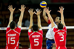 13.09.2014, Centennial Hall, Breslau, POL, FIVB WM, Kuba vs Bulgarien, 2. Runde, Gruppe F, im Bild Todor Aleksiev bulgaria #15 Svetoslav Gotsev bulgaria #5 Javier Ernesto Jimenez Scull cuba #4 Andrey Zhekov bulgaria #3 // Todor Aleksiev bulgaria #15 Svetoslav Gotsev bulgaria #5 Javier Ernesto Jimenez Scull cuba #4 Andrey Zhekov bulgaria #3 during the FIVB Volleyball Men's World Championships 2nd Round Pool F Match beween Cuba and Bulgaria at the Centennial Hall in Breslau, Poland on 2014/09/13. EXPA Pictures © 2014, PhotoCredit: EXPA/ Newspix/ Sebastian Borowski<br /> <br /> *****ATTENTION - for AUT, SLO, CRO, SRB, BIH, MAZ, TUR, SUI, SWE only*****