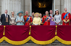 Picture shows members of the Royal Family on the balcony of Buckingham Palace watching the flypast.<br /> <br /> Soldiers of the Household Division were on parade today to mark the Queen&rsquo;s Official Birthday on Saturday, 16th June on Horse Guards Parade at the ceremony known as Trooping the Colour. 16/06/2012<br /> <br /> Credit should read: L/Cpl Mark Larner RY/MOD<br /> <br /> This year, the Colour trooped in the presence of Her Majesty The Queen, was that of the 1st Battalion Coldstream Guards. The Duke of Edinburgh and the Royal Colonels (the Prince of Wales, The Duke of Cambridge, The Princess Royal and the Duke of Kent) were also be on parade.<br /> <br /> Over 1,600 Officers and Soldiers were also be on parade in the traditional uniforms of the Household Cavalry, Royal Horse Artillery, and Foot Guards.  Many more worked behind the scenes to ensure all goes smoothly.<br /> <br /> There were 241 horses on parade, and 290 musicians from 10 Bands &amp; Corps of Drums will march and play as one.  The famous Drum Horses of the Mounted Bands were also be on parade.