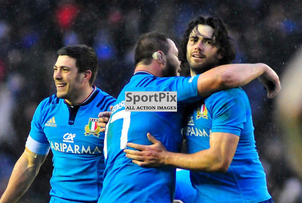 28/02/2015, Murrayfield, Scotland, Edoardo Gori, Alberto De Marchi and Luke McLean celebtate there sides win during the Scotland v Italy 6 Nations game, ......(c) COLIN LUNN | SportPix.org.uk