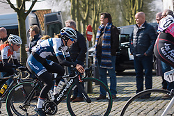 Lotta Lepistö charges up the Nokereberg cobbles - 2016 Omloop het Nieuwsblad - Elite Women, a 124km road race from Vlaams Wielercentrum Eddy Merckx to Ghent on February 27, 2016 in East Flanders, Belgium.