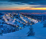 Sunset over Bogus Basin Ski Resort with the city lights of Boise beyond.  36x42 canvas wrap