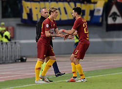 September 26, 2018 - Rome, Italy - Javier Pastore and Nicolò Zaniolo during the Italian Serie A football match between A.S. Roma and Frosinone at the Olympic Stadium in Rome, on september 26, 2018. (Credit Image: © Silvia Lore/NurPhoto/ZUMA Press)