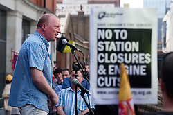 FBU general secretary Matt Wrack, addresses protesters gathered to demonstrate against controversial service cuts to the London Fire Brigade which could see the closure of 10 stations.<br /> London, United Kingdom<br /> Thursday, 18th July 2013<br /> Picture by Piero Cruciatti / i-Images