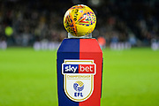 tonights mitre match ball sits on the Skybet Championship EFL plinth during the EFL Sky Bet Championship match between West Bromwich Albion and Aston Villa at The Hawthorns, West Bromwich, England on 7 December 2018.