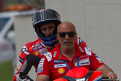 June 1, 2018 - Scarperia, Imola, Italy - Andrea Dovizioso of Ducati Team returns to the pits after the fall the during the Free Practice 2 of the Oakley Grand Prix of Italy, at International  Circuit of Mugello, on June 01, 2018 in Mugello, Italy  (Credit Image: © Danilo Di Giovanni/NurPhoto via ZUMA Press)
