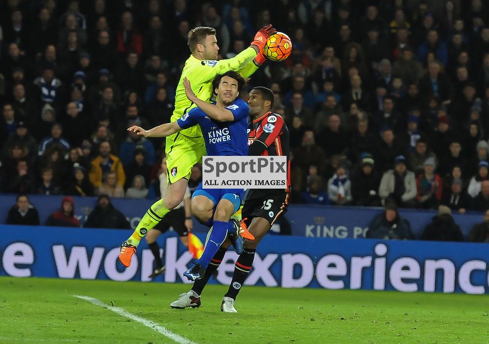 Artur Boruc collects under pressure from Shinji Okazaki (c) Simon Kimber | SportPix.org.uk