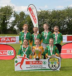 St Joseph's NS Woodford Co Galway finalists in the SPAR FAI Primary Schools 5's Connacht finals, pictured at Solar Park Mayo with their Cup and medals. As winners they will progress to the SPAR FAI Primary School 5's National Finals in the Aviva Stadium on May 31st.<br /> Pic Conor McKeown