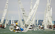 The fleet of Laser SB3's beat to windward on the opening Day 1 of Skandia Cowes Week 2006
