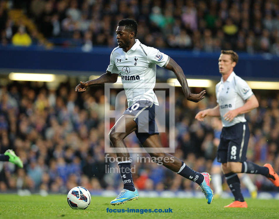Picture by Gerald O'Rourke/Focus Images Ltd +44 7500 165179.08/05/2013.Emmanuel Adebayor of Tottenham Hotspur attacking with the ball during the Barclays Premier League match at Stamford Bridge, London.