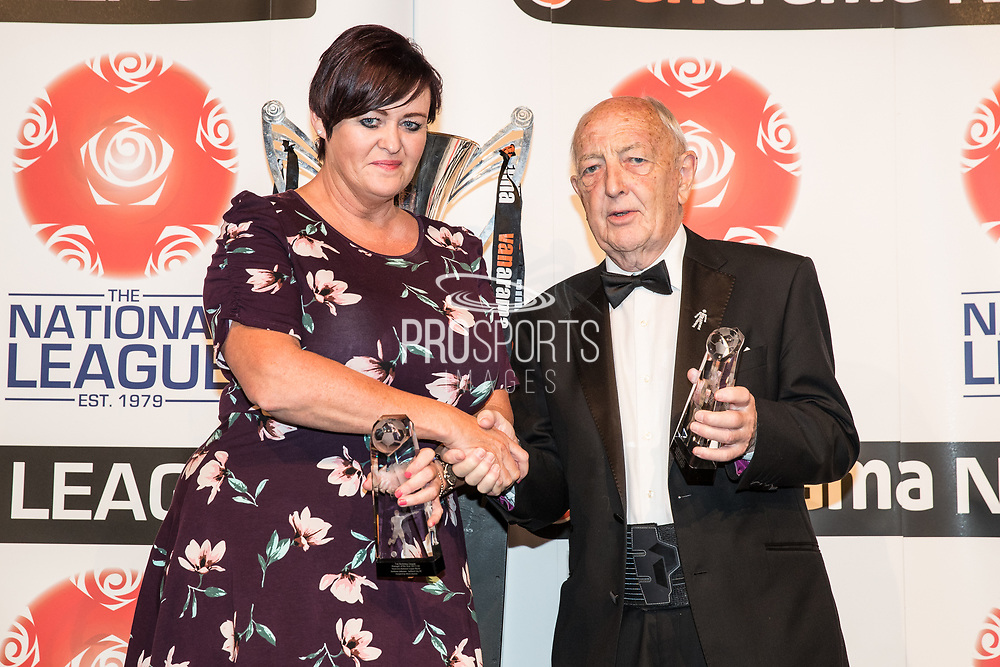 Karen Beard during the National League Gala Awards Evening at Celtic Manor Resort, Newport, South Wales on 9 June 2018. Picture by Shane Healey.