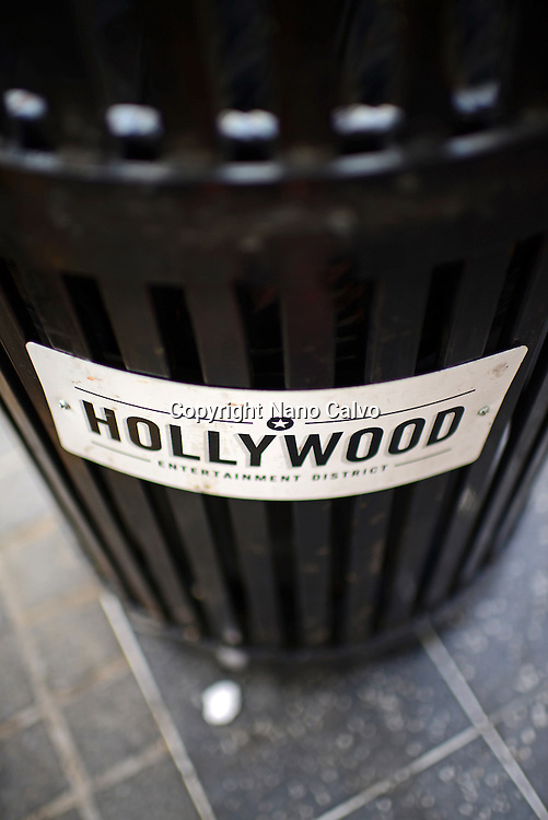 Trash bins at Hollywood Walk of Fame, Los Angeles.