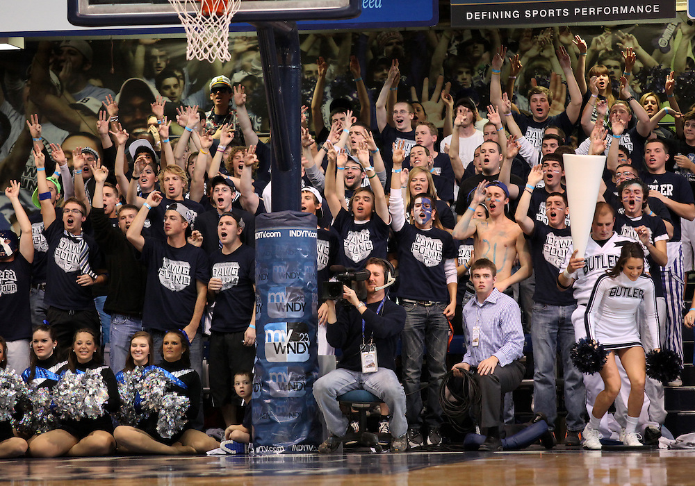 November 19, 2011: Butler fans cheer on the Bulldogs against Louisville during the game at Hinkle Fieldhouse in Indianapolis, Ind. Louisville won 69-53.