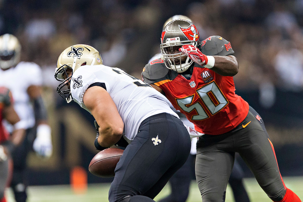 NEW ORLEANS, LA - SEPTEMBER 20:  Bruce Carter #50 of the Tampa Bay Buccaneers hits Austin Johnson #36 of the New Orleans Saints at Mercedes-Benz Superdome on September 20, 2015 in New Orleans Louisiana.  The Buccaneers defeated the Saints 26-19.  (Photo by Wesley Hitt/Getty Images) *** Local Caption *** Bruce Carter; Austin Johnson