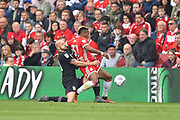 Aston Villa defender Alan Hutton (21)  fouls Middlesbrough forward Adama Traore (37) during the EFL Sky Bet Championship match between Middlesbrough and Aston Villa at the Riverside Stadium, Middlesbrough, England on 12 May 2018. Picture by Jon Hobley.