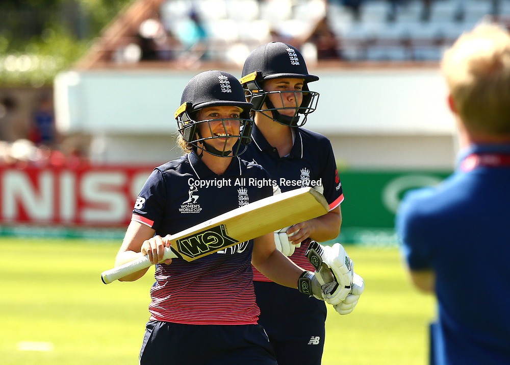 July 2nd 2017, The Cooper Associates County Ground, Taunton, England; The ICC Womens World Cup; England Women versus Sri Lanka Women; Sarah Taylor of England smiles after England win the match