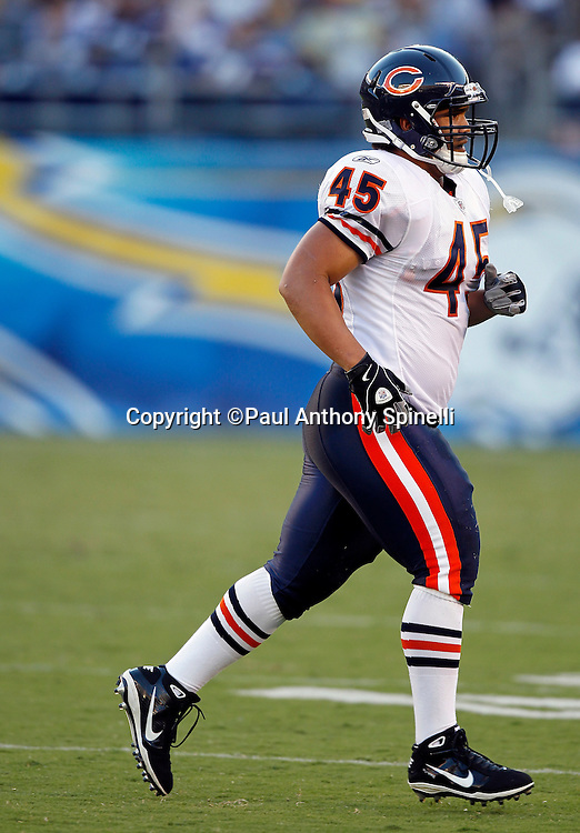 Chicago Bears running back Brandon Minor (45) jogs off the field during a NFL week 1 preseason football game against the San Diego Chargers, Saturday, August 14, 2010 in San Diego, California. The Chargers won the game 25-10. (©Paul Anthony Spinelli)