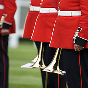 The band of the Irish Guards perform during the race meeting at Royal Ascot Race Course. Royal Ascot is one of the most famous race meetings in the world, frequented by Royalty and punters from the high end of society to the normal everyday working class. Royal Ascot 2009, Ascot, UK, on Friday, June 19, 2009. Photo Tim Clayton...