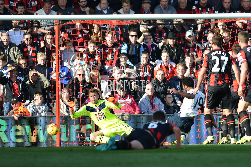 \Tottenham Hotspur midfielder Mousa Dembele scores Tottenham Hotspur's second goal during the Barclays Premier League match between Bournemouth and Tottenham Hotspur at the Goldsands Stadium, Bournemouth, England on 25 October 2015. Photo by Mark Davies.