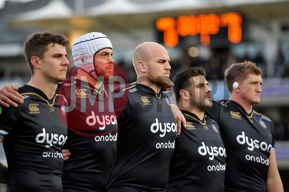 Matt Garvey and other Bath Rugby players look on prior to the match - Mandatory byline: Patrick Khachfe/JMP - 07966 386802 - 21/11/2015 - RUGBY UNION - The Recreation Ground - Bath, England - Bath Rugby v Leinster Rugby - European Rugby Champions Cup.