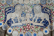 Subodharmaya Temple at Dehiwala. This temple complex has fine examples of Buddhist art and architecture. Dehiwala is a suburb of Colombo, just South of the city. Detail of floor - made up from pieces of broken crockery.