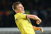 Millwall defender Shaun Hutchinson (4) celebrates win  front of their traveling supporters during the EFL Sky Bet Championship match between Derby County and Millwall at the Pride Park, Derby, England on 14 December 2019.